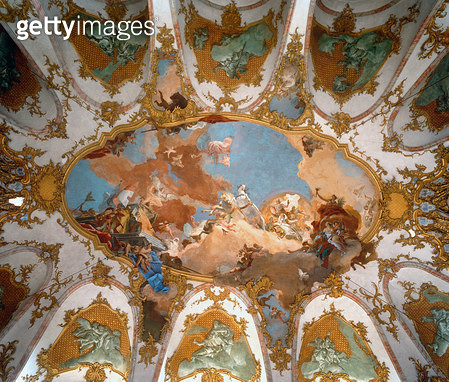 <b>Title</b> : Ceiling of the Kaisersaal, built 1720-44 (photo)Additional Infodesigned by Balthasar Neumann and Hildebrandt; stucco by Bossi; f<br><b>Medium</b> : <br><b>Location</b> : Residenz, Wurzburg, Germany<br> - gettyimageskorea