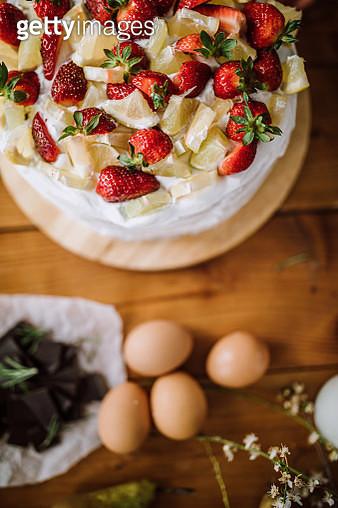 Fresh Fruits As Creamy Cake Decor - gettyimageskorea