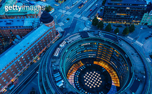 Hakaniemi district in Helsinki in an aerial view during blue hour - gettyimageskorea