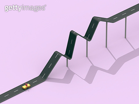 Road in the shape of a line graph - gettyimageskorea