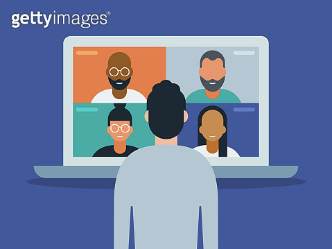 Illustration of man using laptop computer for video conference - gettyimageskorea