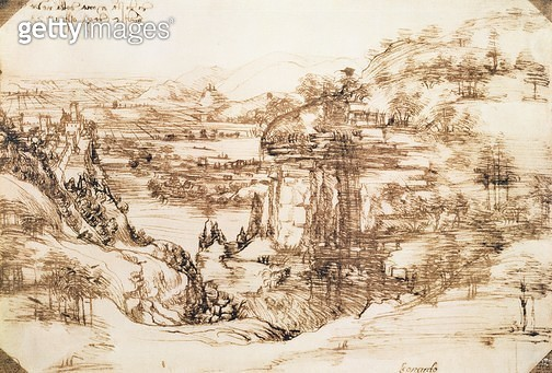 <b>Title</b> : Landscape, 1473 (pen and ink on paper)<br><b>Medium</b> : <br><b>Location</b> : Galleria degli Uffizi, Florence, Italy<br> - gettyimageskorea
