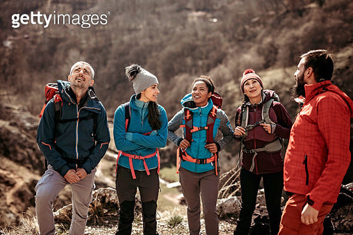 Group of tourist preparing for new climbing adventure in nature - gettyimageskorea