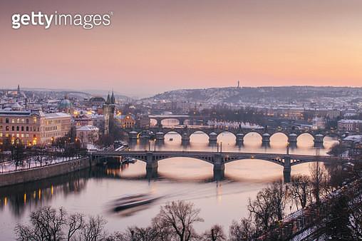 Vltava River and Old Town in Winter, Prague, Czech Republic - gettyimageskorea