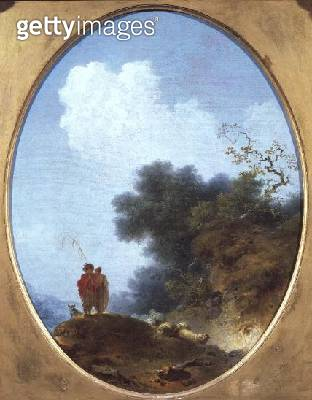 <b>Title</b> : A Shepherd Playing the Flute Whilst a Peasant Girl Listens, 1765 (oil on canvas)Additional InfoPatre jouant de la flute, une pay<br><b>Medium</b> : oil on canvas<br><b>Location</b> : Louvre, Paris, France<br> - gettyimageskorea