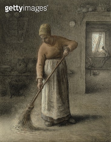 <b>Title</b> : A Farmer's wife sweeping, 1867 (pastel on brown paper)<br><b>Medium</b> : pastel on brown paper<br><b>Location</b> : Hamburger Kunsthalle, Hamburg, Germany<br> - gettyimageskorea
