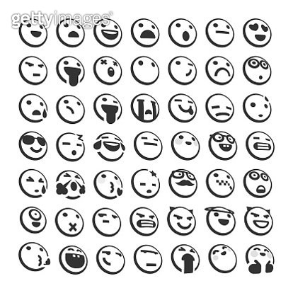 Vector illustration of a collection of cute emoticons in black and white and a 3D effect. Perfect for online messaging, mobile apps, social media platforms and all kinds of design projects, ideas and concepts. Great also for business and technology relate - gettyimageskorea