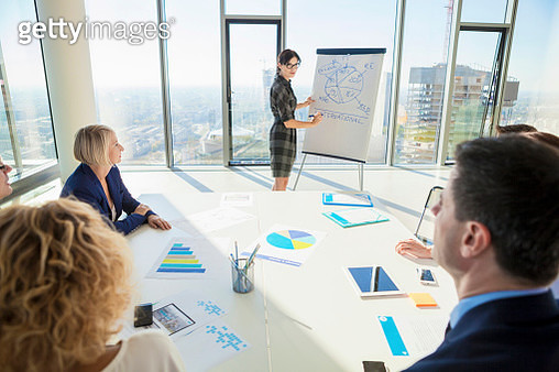 Female architect giving presentation in business meeting - gettyimageskorea