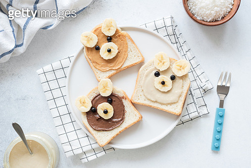 Breakfast Toasts With Nut Butter And Banana With Cute Funny Animal Face. Kids Food - gettyimageskorea