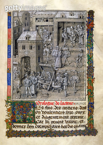 Ms 9066 f.11 Presentation of the book to Philippe Le Bon, from 'Chroniques et Conquetes de Charlemagne' by David Aubert, 1458 (vellum) - gettyimageskorea