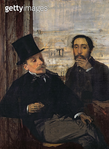 <b>Title</b> : Self Portrait with Evariste de Valernes (1816-96) c.1865 (oil on canvas)<br><b>Medium</b> : oil on canvas<br><b>Location</b> : Musee d'Orsay, Paris, France<br> - gettyimageskorea