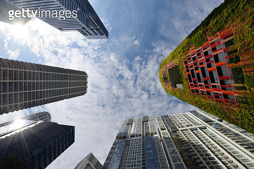 Looking up at office towers in Singapore's Tanjong Pagar - gettyimageskorea