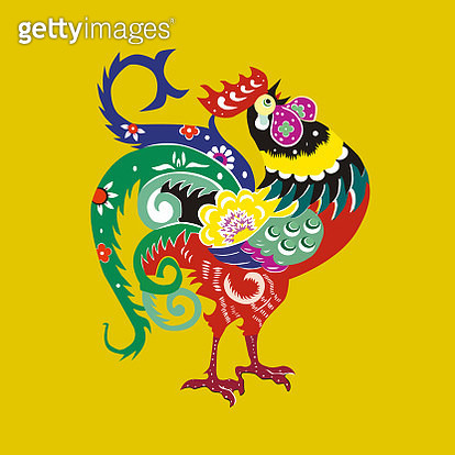 Chinese cue paper style cock pattern - gettyimageskorea