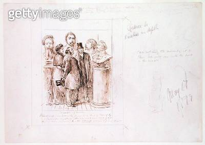 <b>Title</b> : The Triumph of Realism, 1879 (pen, brown ink and pencil on paper)Additional Infodrawn for a cartoon in Punch, 17 May 1879;<br><b>Medium</b> : pen, brown ink and pencil on paper<br><b>Location</b> : The Barber Institute of Fine Arts, Univers - gettyimageskorea