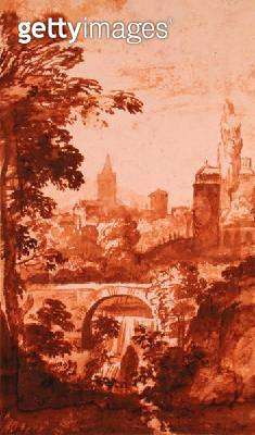 <b>Title</b> : Landscape (pen and brown wash on paper)Additional Infopossibly by a Dutch imitator of Claude Lorrain, working in Italy;<br><b>Medium</b> : pen and brown wash on paper<br><b>Location</b> : The Barber Institute of Fine Arts, University of Bir - gettyimageskorea