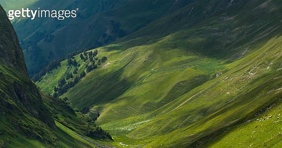 Picturesque mountain emerald valley of river Zagedanka. - gettyimageskorea