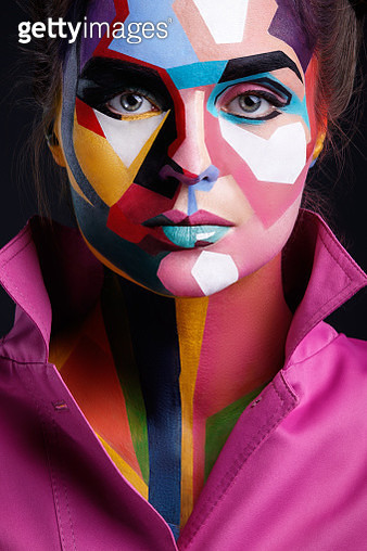 Close-Up Portrait Of Woman With Face Paint - gettyimageskorea