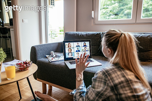 Young woman at home, working and studying from home - gettyimageskorea