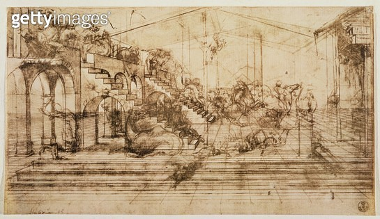 <b>Title</b> : Background perspective sketch for The Adoration of the Magi (pen and ink on paper)<br><b>Medium</b> : <br><b>Location</b> : Galleria degli Uffizi, Florence, Italy<br> - gettyimageskorea