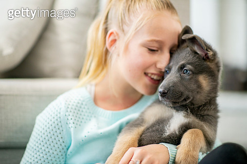 Snuggling With Puppy - gettyimageskorea