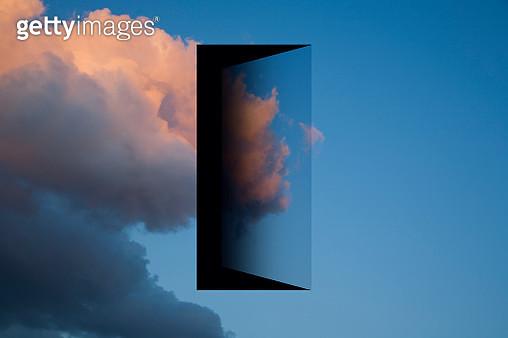 View of the sky with a doorway in it. - gettyimageskorea