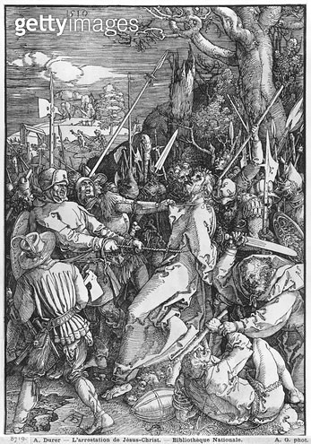 <b>Title</b> : The Arrest of Jesus Christ, 1510 (woodcut) (b/w photo)<br><b>Medium</b> : woodcut<br><b>Location</b> : Bibliotheque Nationale, Paris, France<br> - gettyimageskorea