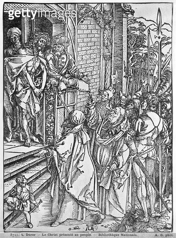 <b>Title</b> : Christ presented to the people (woodcut) (b/w photo)<br><b>Medium</b> : woodcut<br><b>Location</b> : Bibliotheque Nationale, Paris, France<br> - gettyimageskorea