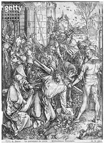 <b>Title</b> : The carrying of the cross (woodcut) (b/w photo)<br><b>Medium</b> : woodcut<br><b>Location</b> : Bibliotheque Nationale, Paris, France<br> - gettyimageskorea