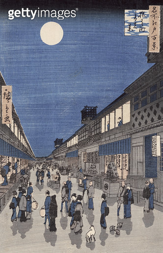 <b>Title</b> : Night time view of Saruwaka Street, from 'Meisho Edo Hyakkei' (One Hundred Views of Edo) (colour woodblock print)<br><b>Medium</b> : colour woodblock print<br><b>Location</b> : Musee Claude Monet, Giverny, France<br> - gettyimageskorea