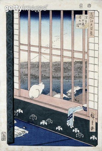 <b>Title</b> : Asakusa Rice Fields during the festival of the Cock from the series 'Meisho Edo Hyakkei' (One Hundred Views of Edo) 1861 (colour woodblock print)<br><b>Medium</b> : colour woodblock print<br><b>Location</b> : Musee Claude Monet, Giverny, Fr - gettyimageskorea