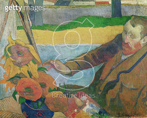 <b>Title</b> : Van Gogh painting Sunflowers, 1888 (oil on canvas)Additional InfoVan Gogh peingant les Tournesols;<br><b>Medium</b> : <br><b>Location</b> : Van Gogh Museum, Amsterdam, The Netherlands<br> - gettyimageskorea