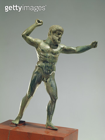 Statuette of Herakles brandishing his club/ Classical Greek/ Argive period/ c.4600-4500 BC (bronze) - gettyimageskorea