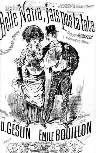 <b>Title</b> : Front cover of a score sheet for the song 'Belle Nana, fais pas ta tata', (b/w photo)<br><b>Medium</b> : engraving<br><b>Location</b> : Musee de la Ville de Paris, Musee Carnavalet, Paris, France<br> - gettyimageskorea