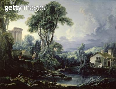 <b>Title</b> : Landscape with Water Mill, 1743 (oil on canvas)<br><b>Medium</b> : oil on canvas<br><b>Location</b> : The Bowes Museum, Barnard Castle, County Durham, UK<br> - gettyimageskorea