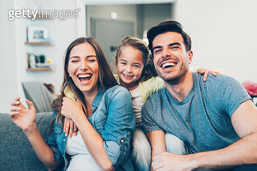 Portrait of happy young family - gettyimageskorea