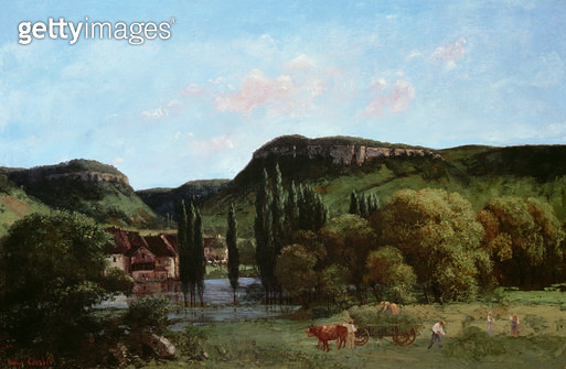<b>Title</b> : View of Ornans, 1864 (oil on canvas)<br><b>Medium</b> : oil on canvas<br><b>Location</b> : The Bowes Museum, Barnard Castle, County Durham, UK<br> - gettyimageskorea