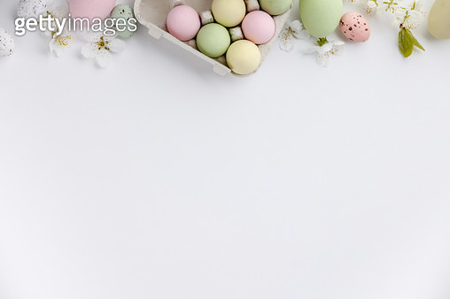 High Angle View Of Multi Colored Eggs On White Background - gettyimageskorea