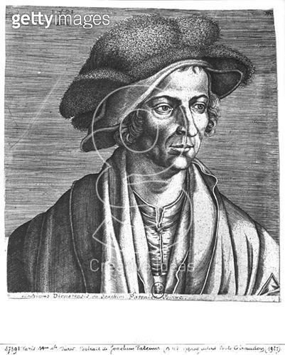 <b>Title</b> : Portrait of Joachim Patinir, 1521 (engraving) (b/w photo)<br><b>Medium</b> : engraving<br><b>Location</b> : Bibliotheque Nationale, Paris, France<br> - gettyimageskorea