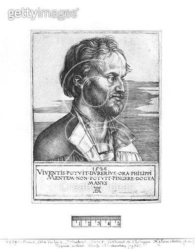 <b>Title</b> : Portrait of Philipp Melanchthon, 1526 (engraving) (b/w photo)<br><b>Medium</b> : engraving<br><b>Location</b> : Musee de la Ville de Paris, Musee du Petit-Palais, France<br> - gettyimageskorea