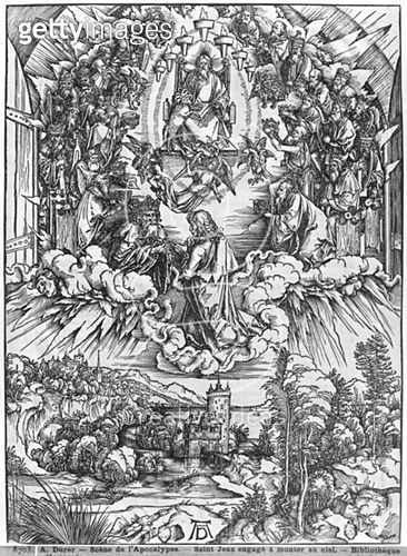 <b>Title</b> : Scene from the Apocalypse, St. John before God the Father and the Twenty-Four Elders, German edition, 1498 (woodcut) (b/w photo)<br><b>Medium</b> : woodcut<br><b>Location</b> : Bibliotheque Nationale, Paris, France<br> - gettyimageskorea