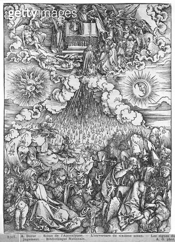 <b>Title</b> : Scene from the Apocalypse, The Opening of the Fifth and Sixth Seals, Latin edition, 1511 (woodcut) (b/w photo)<br><b>Medium</b> : woodcut<br><b>Location</b> : Bibliotheque Nationale, Paris, France<br> - gettyimageskorea