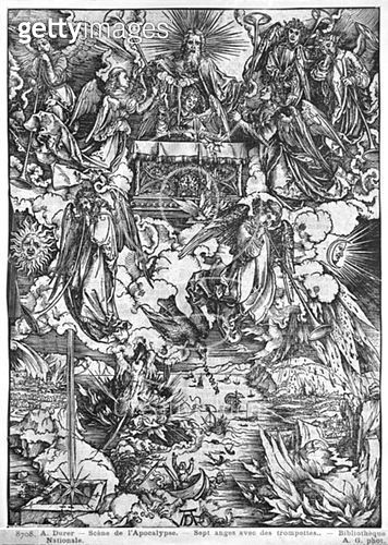 <b>Title</b> : Scene from the Apocalypse, The Opening of the Seventh Seal, The Seven Angels with the trumpets, Latin edition, 1511 (woodcut) (b/w photo)<br><b>Medium</b> : woodcut<br><b>Location</b> : Bibliotheque Nationale, Paris, France<br> - gettyimageskorea