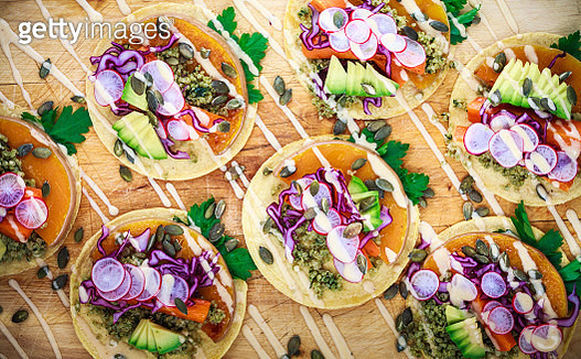 Detail of Organic Corn Tortillas with Pumpkin, Quinoa and Chipotle Mayonnaise - gettyimageskorea