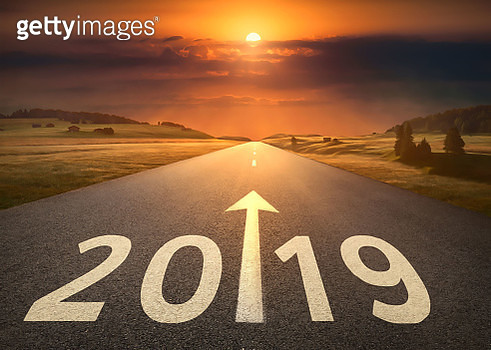 2019 Number On Road Against Cloudy Sky During Sunset - gettyimageskorea