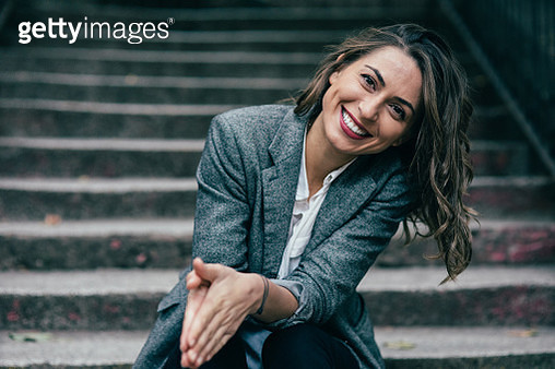Woman on a staircase - gettyimageskorea