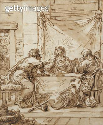 <b>Title</b> : The Supper at Emmaus (ink on paper)Additional InfoLes disciples d'Emmaus; souper; diner<br><b>Medium</b> : <br><b>Location</b> : Musee Marmottan, Paris, France<br> - gettyimageskorea
