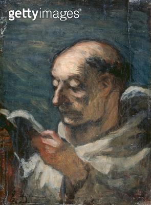 <b>Title</b> : Monk Reading (oil on canvas)Additional Infomoine lisant; lecture;<br><b>Medium</b> : <br><b>Location</b> : Musee Marmottan, Paris, France<br> - gettyimageskorea