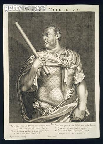 <b>Title</b> : Aullus Vitellius Emperor of Rome 68 AD engraved by Aegidius Sadeler (1570-1629) (engraving)Additional InfoEmperor following suic<br><b>Medium</b> : <br><b>Location</b> : Private Collection<br> - gettyimageskorea