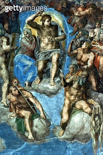 Christ, detail from 'The Last Judgement', in the Sistine Chapel, 16th century with self-portrait of Michelangelo as Saint Bartholomew holding flayed skin (fresco) - gettyimageskorea