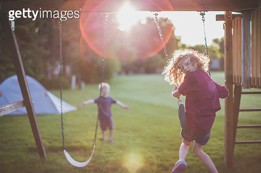 Kids Playing outside - gettyimageskorea